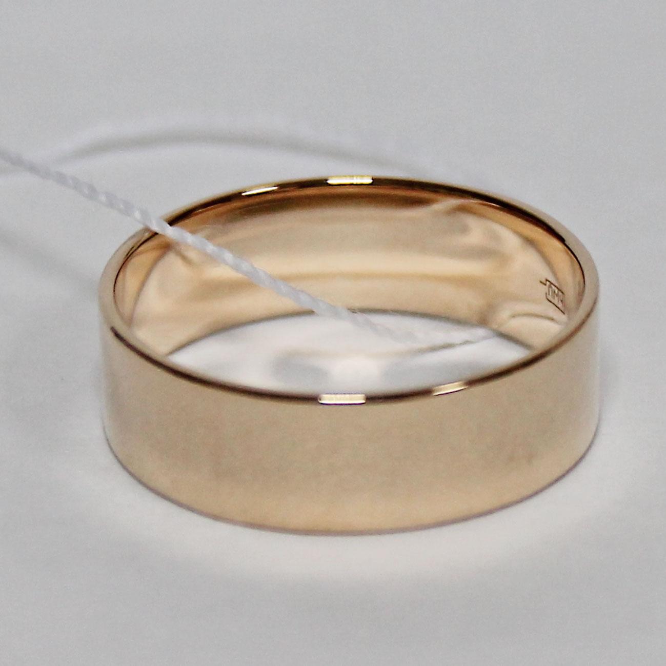 Обручальное кольцо прямое, широкое, красное золото 585 проба 6 мм cf1838b8c67