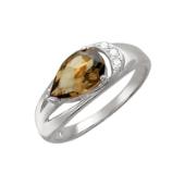 Кольцо, белое золото, большой полудраг грушевидной формы