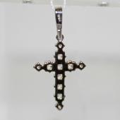 Крест без распятия с фианитами, белое золото 23 мм
