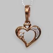 Кулон Сердце, фианиты, ушко в виде сердца, красное золото 585 пробы