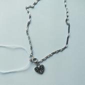 Браслет на цепочке Сингапур с подвеской ажурное сердце из серебра 925 пробы