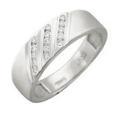 Кольцо, белое золото 585 проба, три полоски бриллиантов по диагонали