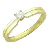 Кольцо с одним бриллиантом, желтое золото 750 проба