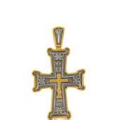 Крест ажурный православный, серебро с позолотой