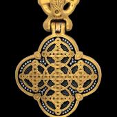 Мощевик (энколпион) Спас Нерукотворный, серебро с позолотой и чернением