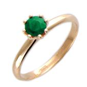 Кольцо с круглым изумрудом (сапфиром), красное золото 585 пробы