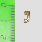 Кулон Викс буква J, латинская Джей с бриллиантом, желтое золото