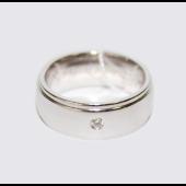 """Обручальное кольцо, белое золото, 585 пробы, бриллиант, широкая шинка, скосы по краям, гравировка: """"Вместе и Навсегда"""" 7.5 мм"""