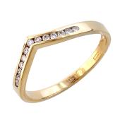 Кольцо с V-образной дорожкой бриллиантов, желтое золото