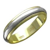 Кольцо обручальное из желтого золота с крутящейся шинкой из белого золота, 4,60 мм