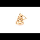 Кулон Колокольчик с аужрым узором, красное золото