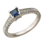 Кольцо Волшебство с сапфиром квадрат и бриллиантами, белое золото 750 проба
