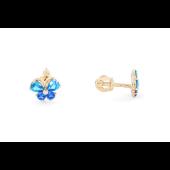Серьги детские Бабочка с голубыми (с цветными) фианитами, красное золото