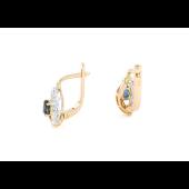 Серьги с бриллиантом и сапфиром, красное золото