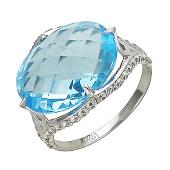 Золотое кольцо с полудрагом формы бриолетт овал и фианитами вдоль камня, белое золото