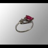 Кольцо с бриллиантом и сапфиром (рубином, изумрудом) Груша, белое золото