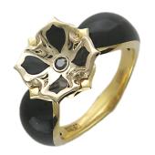 Кольцо Чёрная Лилия с бриллиантом и черной эмалью, комбинированное золото 750 проба