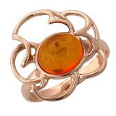 Кольцо с янтарем, красное золото
