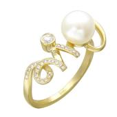Кольцо Завитушка с бриллиантами и белым жемчугом, желтое золото 750 проба