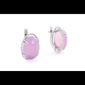 Серьги с розовым ониксом, серебро