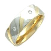 Кольцо обручальное с бриллиантами, шесть бриллиантов, комбинированное золото 6мм