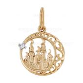 Золотая подвеска Мечеть с фианитом
