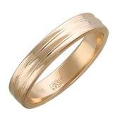 Обручальное кольцо, красное золото, канавка по центру 4.2мм