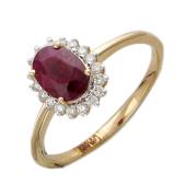 Кольцо Принцесса с бриллиантами и овальным изумрудом (сапфиром), красное золото