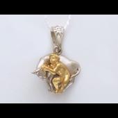 Подвеска знак зодиака Телец с бриллиантом, желтое ибелое золото 585 пробы