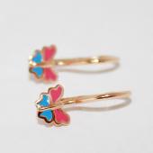 Серьги Бабочки с розово-голубой эмалью, красное золото 585 пробы