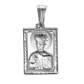 Николай Чудотворец в прямоугольном окладе из серебра