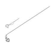 Браслет Сердечко на тонкой якорной цепочке для ножки из серебра