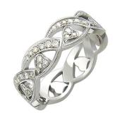 Кольцо, белое золото, 750 пробы, волна с сердечками, бриллианты