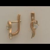 Серьги Сердечки с бриллиантами, комбинированное золото