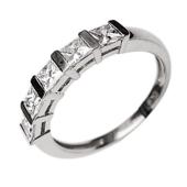 Кольцо Дорожка с квадратными бриллиантами, белое золото 750 проба