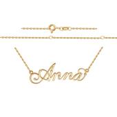 Колье именное Анна Anna из красного золота с фианитами