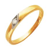 Кольцо обручальное с бриллиантом в ромбе, красное и белое золото, 585 пробы 2.9мм
