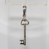 Кулон Ключик с сердечком, серебро