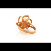 Кольцо Цветок с бриллиантами и жемчугом, красное золото