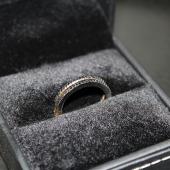 Кольцо Дуэт с чёрными бриллиантами, желтое и белое золото