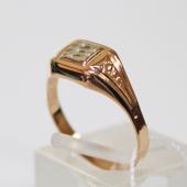 Мужское золотое кольцо, алмазная грань, узкая шинка, в центре квадрат родирование, красное золото, 585 пробы