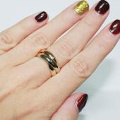 Кольцо обручальное Тринити, красное желтое и белое золото 4мм