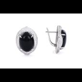 Серьги с черным ониксом и фианитом, серебро