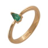 Кольцо с изумрудом Груша, красное золото