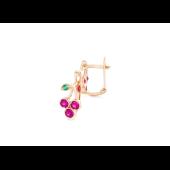 Серьги Вишенки с розовыми и зелеными фианитами, красное золото