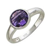 Золотое кольцо с полудрагами формы бриолетт круг, белое золото