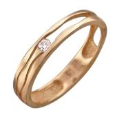 Кольцо обручальное Волны Времени с одним бриллиантом, оригинальное, красное золото