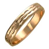 Кольцо обручальное с огранкой волна, красное золото, 4.5 мм