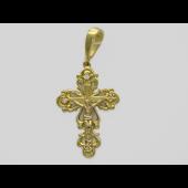 Крест православный с четырьмя бриллиантами, комбинированное золото 750 проба 27 мм
