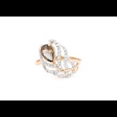 Кольцо Перо Жар-Птицы с раухтопазом и фианитами, красное золото